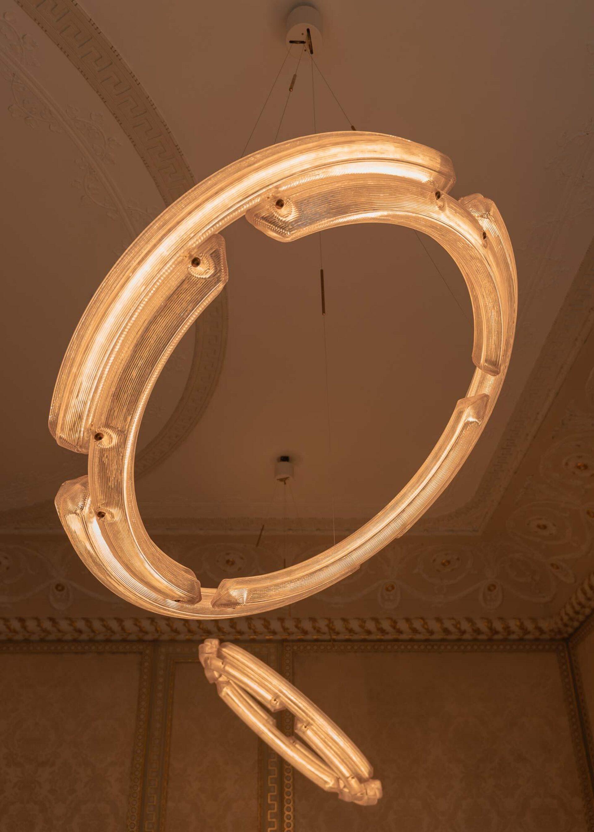 Kooij buitenhuis chandelier duo installed recycled plastic lighting