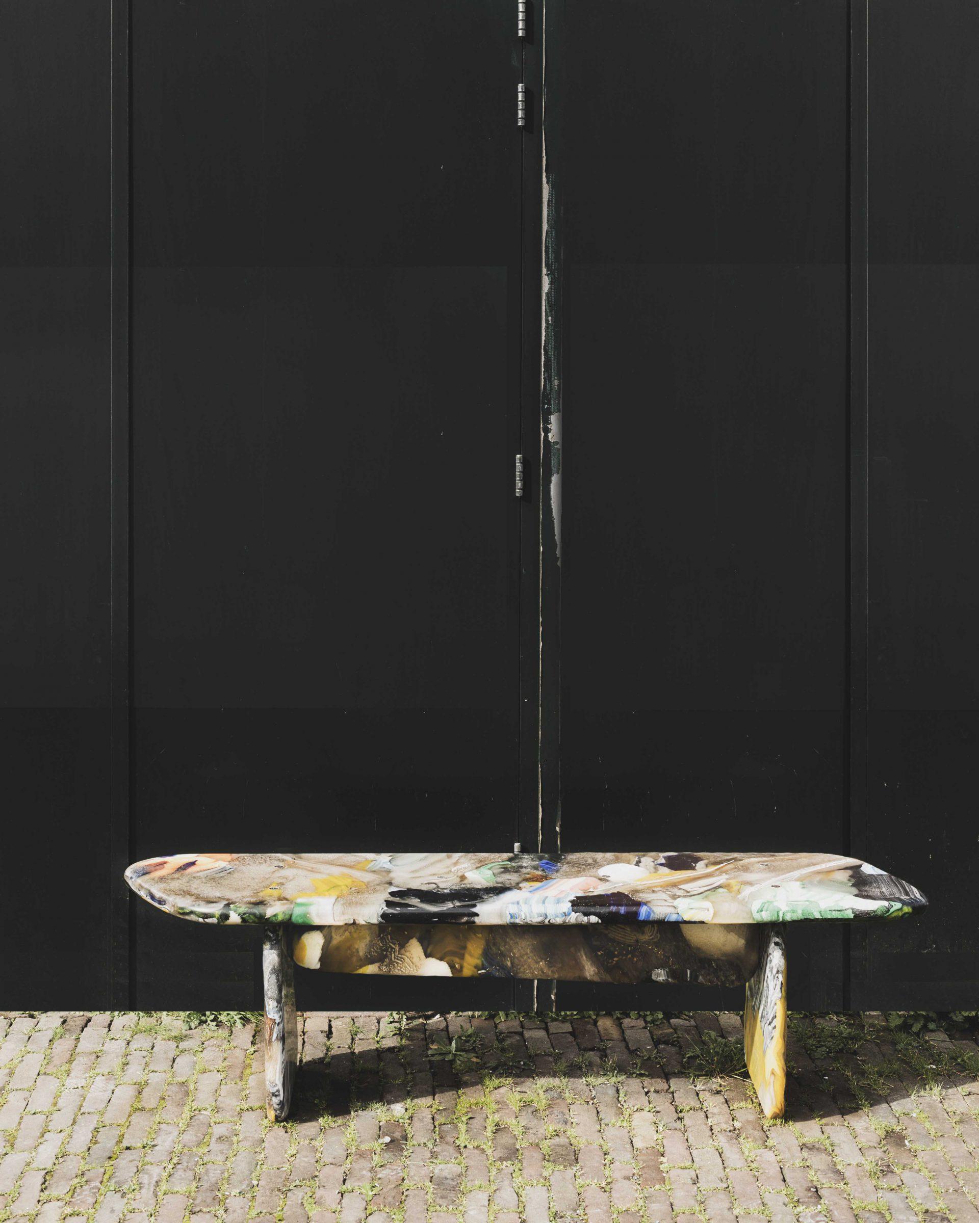 Kooij Menhir bench conglomerate green door